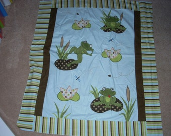 """3D Applique Baby Blanket Panel - Frogs on Lily Pads  - Flannel Fabric  - By the Panel - 36"""" x 44"""""""