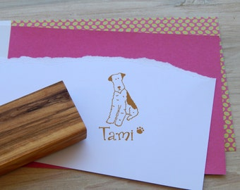 Charity Stamp Custom Wire Fox Terrier Olive Wood Stamp