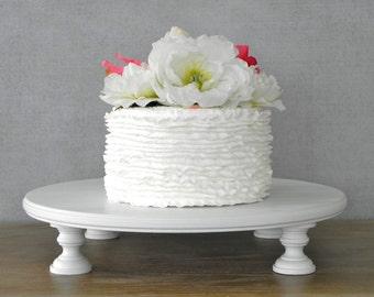 "Cake Stand 16"" Wedding Cake Stand Cupcake Round White Rustic Grooms Cake Wedding Decor E.Isabella Designs Featured In Martha Stewart Wedding"