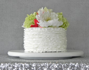 "22"" Cake Stand Cupcake Stand White Round Rustic Vintage Wedding Decor Grooms Cake E. Isabella Designs  Featured In Martha Stewart Weddings"