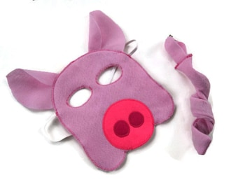 Pig Mask and Tail Set,  Swine Mask, Hog Mask, Dress Up, Farm Animal Birthday Party Favor, Children's Halloween Costume, Adult Mask