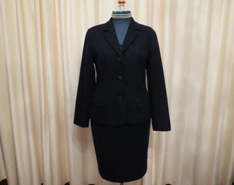 Vintage Made in Australia Dark Navy Wool Events 90s Two Piece Women's Suit Jacket and Skirt