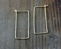 Rectangle Hoops, Organic Rescangle NuGold, Red Brass, 14k Gold Fill, Sterling Silver, Big Hoop Earrings