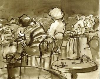 Au Cafe, Paris 1980s. 6x8 Reed Pen and Sepia Ink Drawing, Signed Original Vintage Fine Art