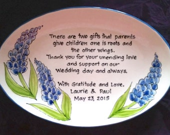 Wedding Gift for Parents Plate - Thank you Mom and Dad - Parents Gift- Blue Bonnets