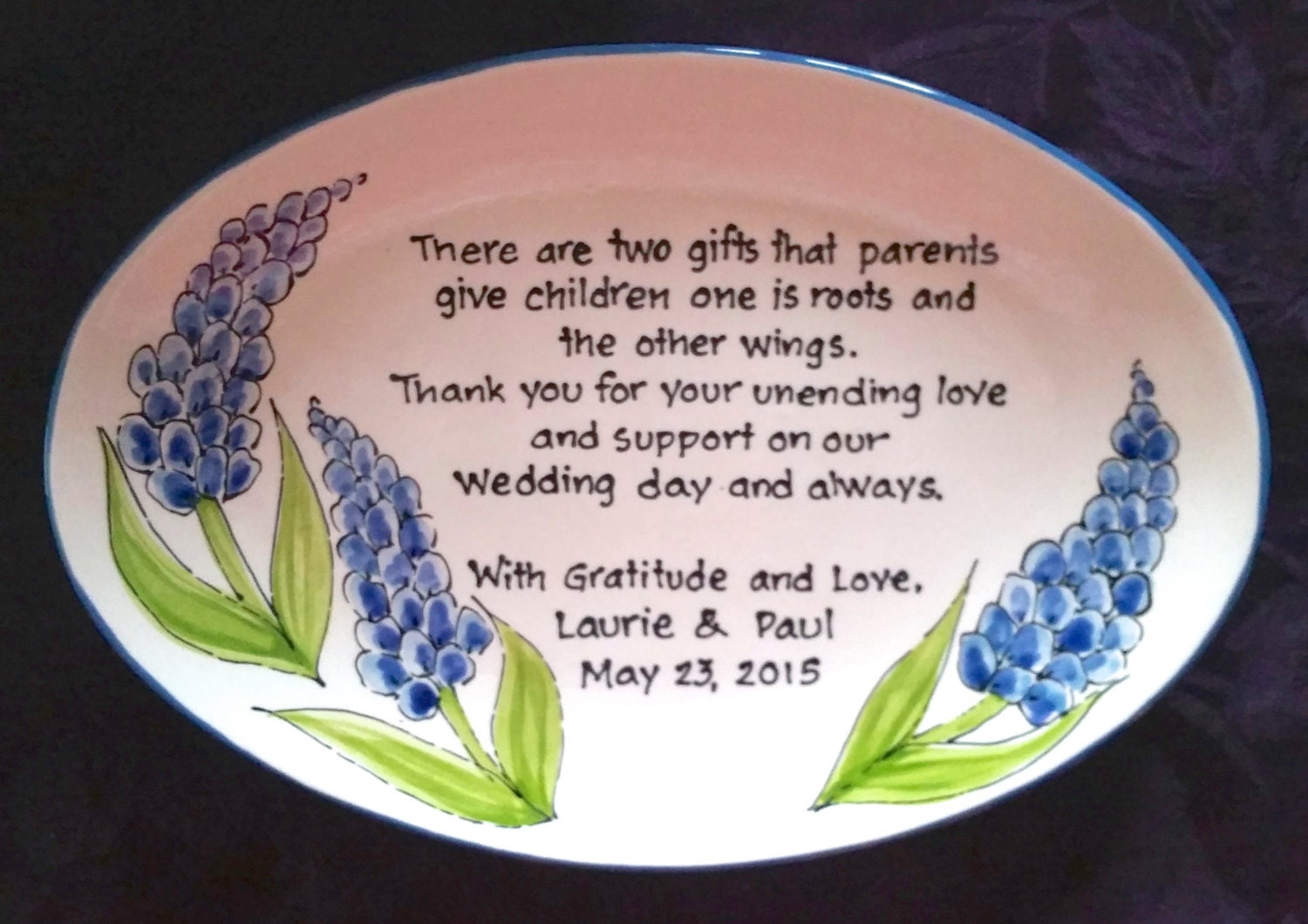 Wedding Thank You Gift For Mom : Wedding Gift for Parents Plate Thank you Mom and Dad