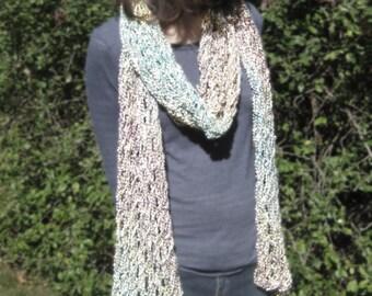 Beige Rainbow fishnet scarf