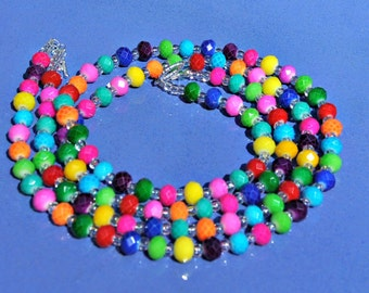 Rainbow Fun Rondelle Bead Two Strand Necklace