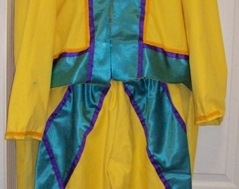 """Clown Costume jacket with tails and matching knicker length pants 2X 52"""" chest, 48"""" waist NEW custom made"""