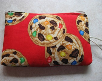 chocolate chunk and candy pieces cookie padded makeup jewelry bag