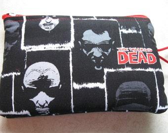 zombie faces block print padded zipper bag