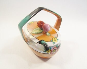 Vintage Lustreware Condiment Sauce Bowl with Lid Handle Spoon Japan Florals Cherries