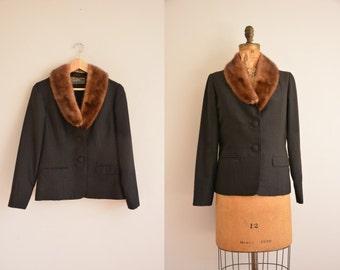 1950s jacket / classic black 50s fur jacket