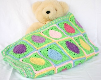 Easter egg crochet afghan spring throw blanket pink purple yellow blue green granny squares pastels scrap yarn lap coverlet home decor
