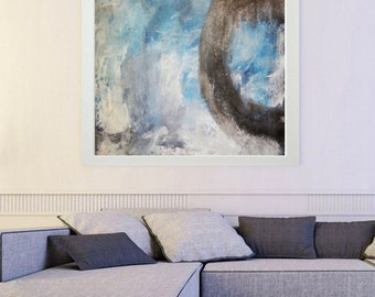 Blue Abstract, blue Painting print, white painting, blue Giclee Print, Abstract Painting, blue white Giclee, white Blue wall art