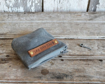 PeeWee Pouch in Slate, Small Waxed Canvas Pouch, Zipper pouch, waxed canvas pouch, zip pouch, coin pouch, change purse, Small Batch, For Her