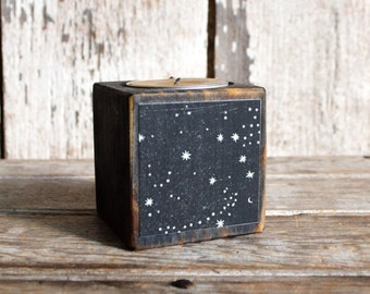 Zodiac Gift, Black Wood Candle Holder, Stars, Constellations, Beeswax Tea Light, Rustic Home Decor, Birthday Gift, Home Decor, Hostess Gift