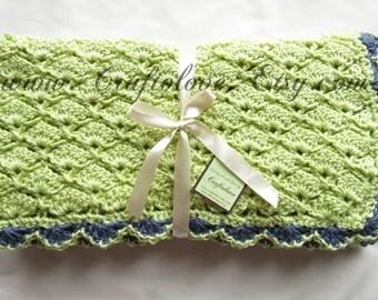 Crochet Baby Blanket - Baby Boy Blanket - Soft Fern Green Panel Shells Stroller/Travel/Car seat blanket- Baby boy shower gift- Baby blanket