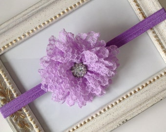 Lavender Purple Shabby and Rhinestone Flower Elastic Headband, Infant, Toddler, Adult, photo prop