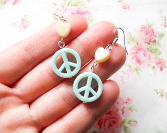 Peace Sign Earrings, Hippy Earrings, Cute Hippy Earrings, Cute Earrings, Pastel Kawaii Earrings, Kawaii Earrings, Pastel Earrings