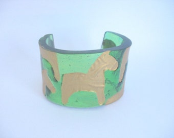Gold horse , green cuff, horse jewelry,  handmade resin bangle , green cuff , green bracelet , green jewelry, gold jewellery, broad bangle