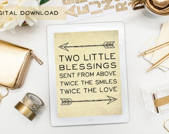 Two Little Blessings Sent From Above - Digital Download - Nursery Decor for Twins, Siblings, Multiples