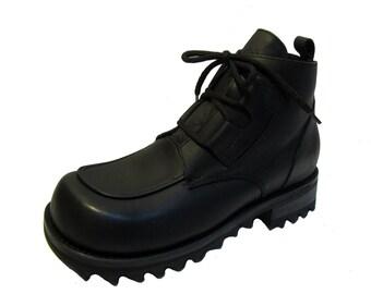 Vintage Muro Boots Mens Black Leather Lace Up Commando Boots Mns Size 8