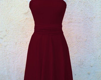 Handmade Convertible/Infinity Dress Bridesmaids dress in color dark vinous