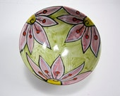Ceramic Pottery Bowl - Small Serving Bowl - Crimson Pink Flower on Olive green - Majolica Bowl - Clay Kitchen Decor - Handmade Pottery Bowl
