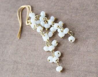 Gold Earrings,White Earrings,Opalite Earrings,Long Earrings,White and Gold,Mothers Day,Mothers Day Gift