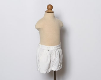 vintage 1950s toddler girl's white linen shorts