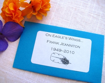 Set of 25 - On Eagle's Wings... - Seed Packet Favor- FILLED WITH your choice SEEDS- memorial service, remembrance