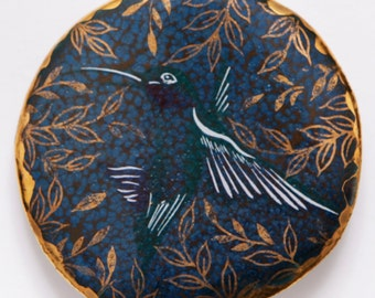 Porcelain Studio Pin Brooch Hummingbird Kolibri Bird