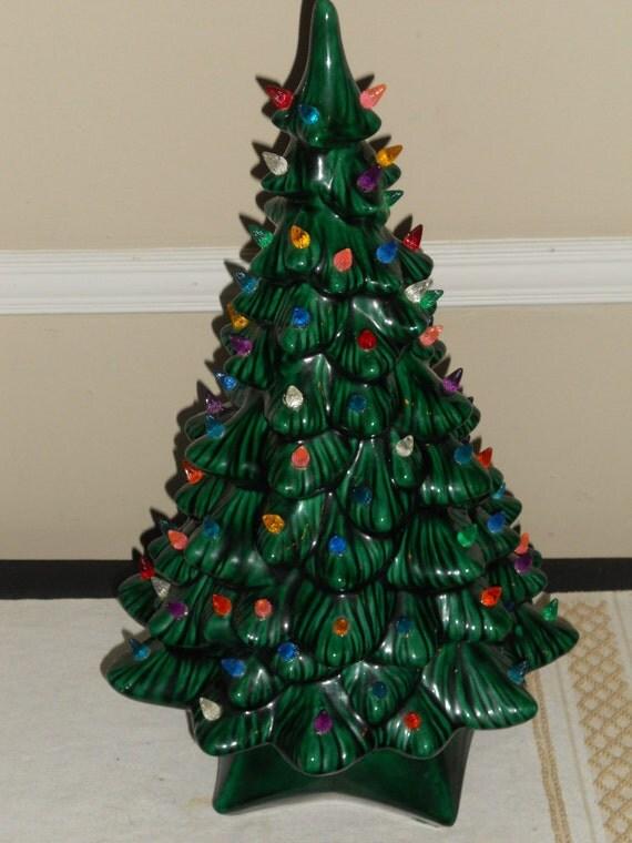 "Vintage Large 19 1/2"" Holland Mold Lighted Ceramic Green Christmas Tree-NICE"