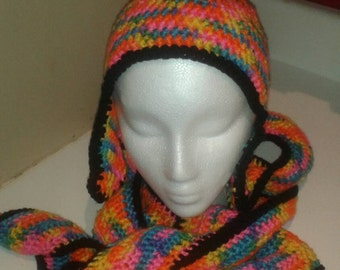 Crocheted Rainbow and Black Curvy Scarf and Earflap Beanie Matching Set for Women, Teens
