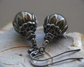 Skeletal - Grey Czech Glass and Black Gunmetal Earrings