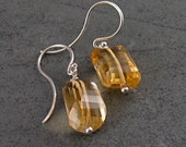 Faceted citrine earrings, handmade step cut citrine nuggets & sterling silver earrings