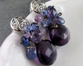 Amethyst earrings, handmade sterling silver, kyanite, pink amethyst and tanzanite earrings-OOAK