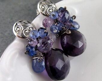 Amethyst earrings, handmade sterling silver, kyanite, pink amethyst and tanzanite earrings-OOAK