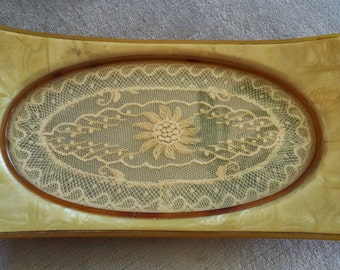 "Vintage Celluloid Vanity / Dresser Tray with Lace Under ""Glass"""