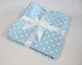 Blue Polka Dot Flannel Baby Blanket - single thickness blanket
