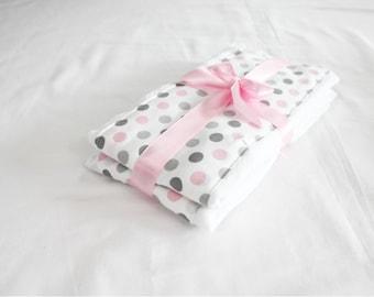 Pink and Grey Polka Dot Burp Cloths - Set of 2