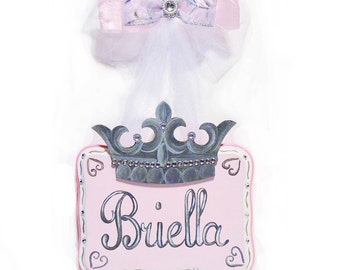 Personalized Door Sign, Girls Hand Painted Princess