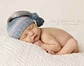 Hand Knit Newborn Baby Hat, Multicolored, Knotted Hat, Newborn Photo Shoot Prop by Cream of the Prop
