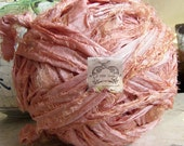 Sari Silk Recycled Ribbon in a Tangerine Peach Pink Blend