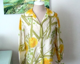 Vintage VERA Blouse, Silk Floral, Spring Fashion, Womens Size Medium