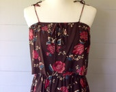 ON SALE Was 29.50 Now 24.00 / 1970s Maxi Sundress with Tiered Bodice / Spaghetti Straps Brown and Pink Floral / Hippie Sundress / Union Tag