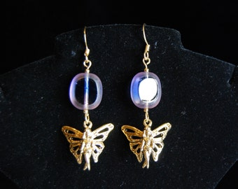 Gold and Blue/Pink Beaded Fairy Earrings - FREE SHIPPING