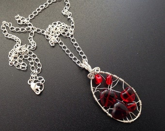 All My Love Inside For You Red Wire Wrapped Heart Necklace