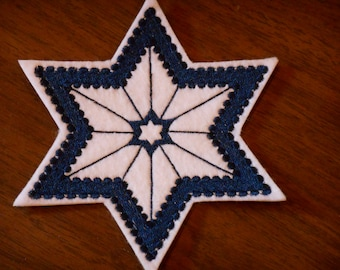 Navy color Star of David embroidered iron on patch many uses